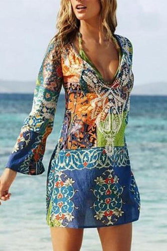 Sexy V Collar Printing Chiffon Beach Vacation Dress