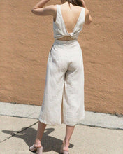 Load image into Gallery viewer, Open Back V-Neck Linen Casual Sexy Jumpsuit
