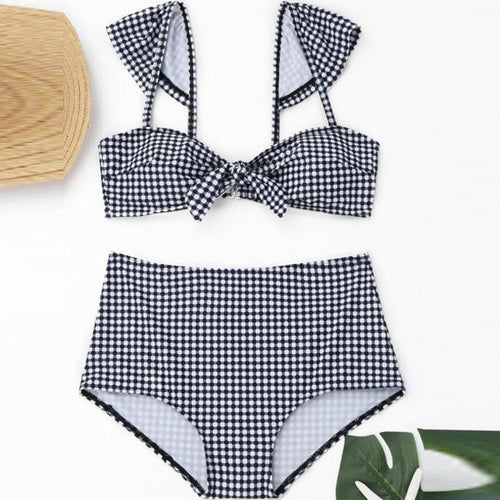 Plaid Printed Sexy Swimsuit