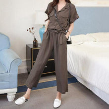 Load image into Gallery viewer, Casual Loose Frenulum High Waist  Slim Pure Color Wide Leg Jumpsuit