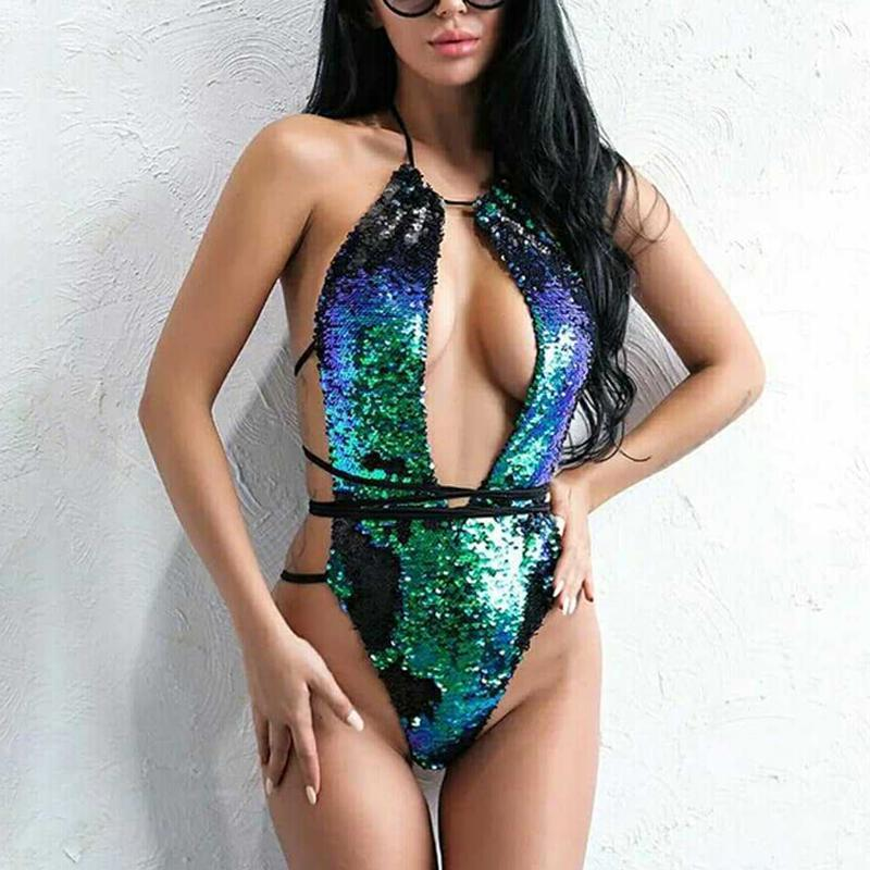 Fashion Discoloration Sequin Swimsuit Bikini