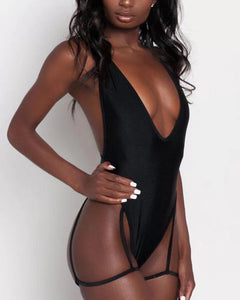 V-Neck Halter Sexy One-Piece Swimsuit