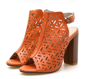 Openwork Fish Mouth Laser Wood Grain Thick High Heeled Sandals