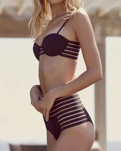 Spaghetti Strap  Hollow Out Plain Bikini