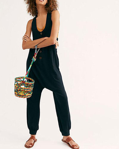 U-Neck Halter Button Linen Jumpsuit