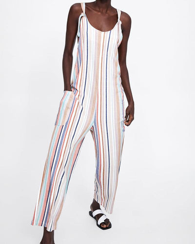 Street Beat Sexy Rainbow Shoulder Strap Adjustable Jumpsuit