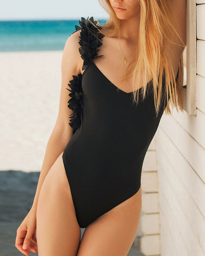Backless  Cascading Ruffles  Plain One Piece