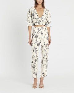 V-Neck Printed Lantern Sleeves Trousers Suit