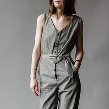 Load image into Gallery viewer, V-Neck Button Belt Cotton And Linen Jumpsuit