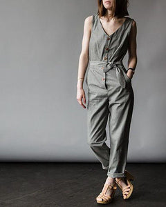 V-Neck Button Belt Cotton And Linen Jumpsuit