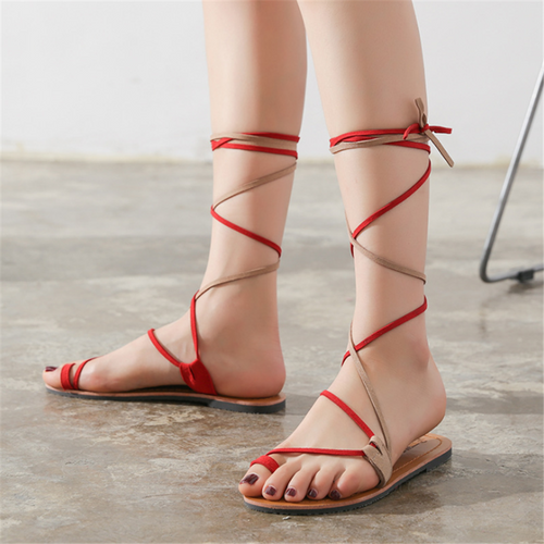 Fashionable Roman style cross strap flat sandals