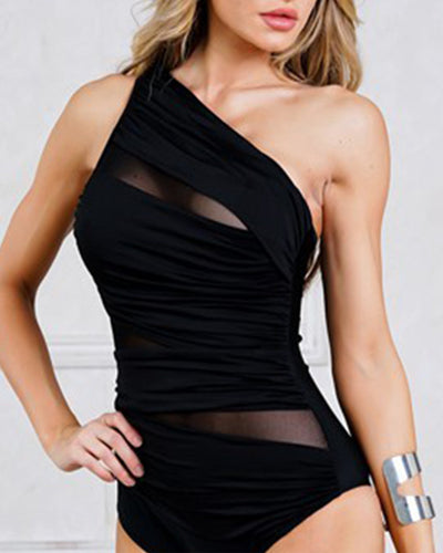 One Shoulder  See-Through  Plain One Piece