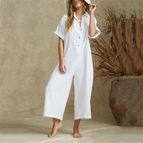 Button Down Collar  Single Breasted  Plain  Short Sleeve Jumpsuit