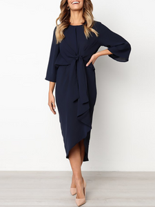 Crew Neck  Elastic Waist Lace-Up  Curved Hem  Plain  Kimono Sleeve Maxi Dresses