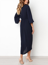 Load image into Gallery viewer, Crew Neck  Elastic Waist Lace-Up  Curved Hem  Plain  Kimono Sleeve Maxi Dresses