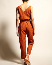 Load image into Gallery viewer, V-Neck High Waist Belt Casual Jumpsuit