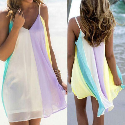 Chiffon Rainbow Vacation Dress