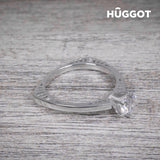 Hûggot Geometry 925 Sterling Silver Ring with Zircons Created with Swarovski®Crystals