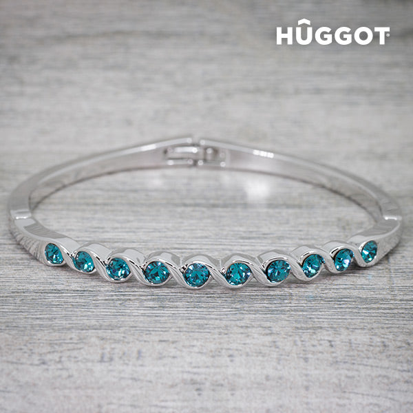 Hûggot Diane Rhodium-Plated Bracelet Created with Swarovski®Crystals (Ø 5 cm)