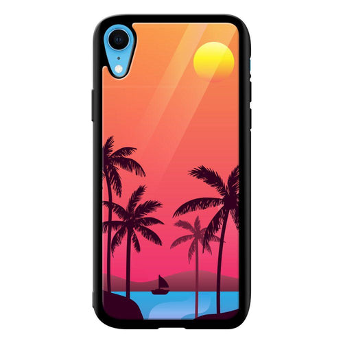 sunset beach designer bumper cover iphone xr glass case