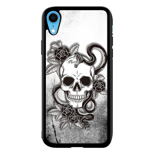 smiling skull designer bumper cover iphone xr glass case