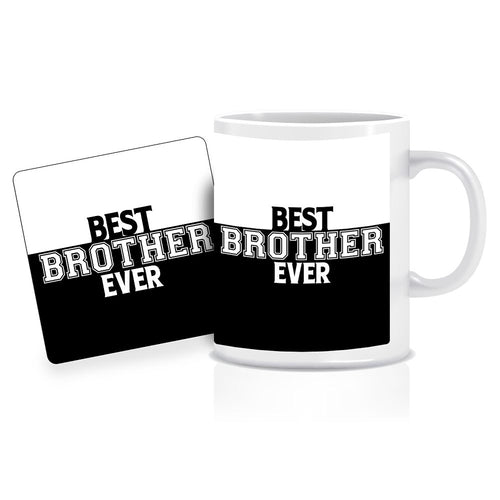 Printnawab Best Brother Ever Mug Coaster Combo