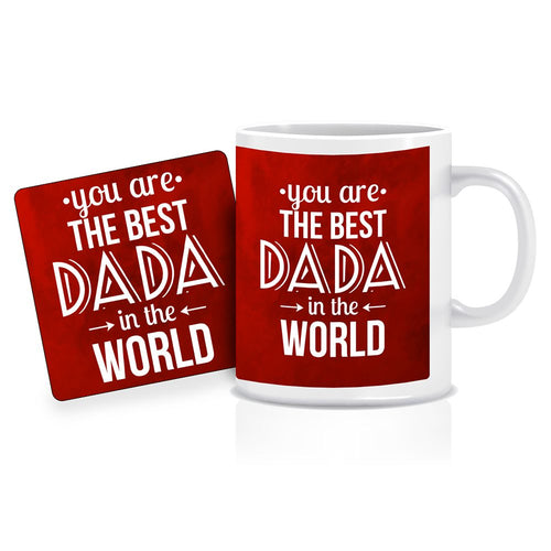 Printnawab Best Dada in World Quote Red Coffee Mug Coaster Combo Gift Pack