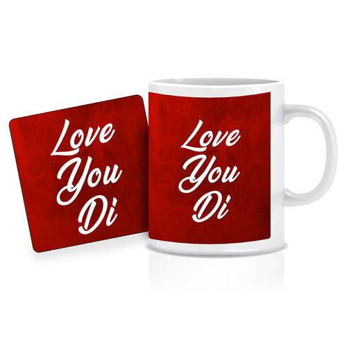 Printnawab Love You Di Text Red Coffee Mug Coaster Combo Gift Pack