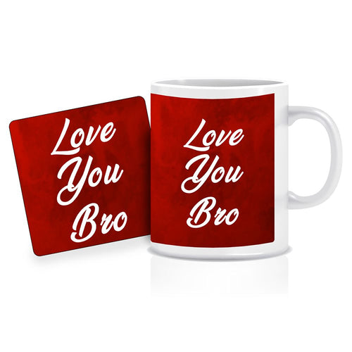Printnawab Love You Bro Text Red Coffee Mug Coaster Combo Gift Pack