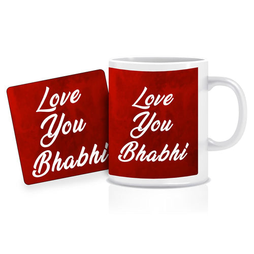 Printnawab Love You Bhabhi Text Red Coffee Mug Coaster Combo Gift Pack