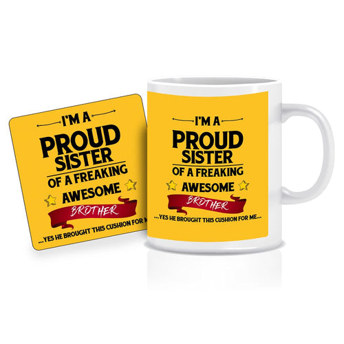 Printnawab Proud Sister Quote Yellow Coffee Mug Coaster Combo Gift Pack