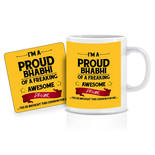 Printnawab Proud Bhabi Quote Yellow Coffee Mug Coaster Combo Gift Pack