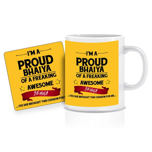 Printnawab Proud Bhaiya Quote Yellow Coffee Mug Coaster Combo Gift Pack