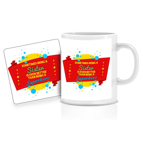 Printnawab Superhero Sister Quote Red Coffee Mug Coaster Combo Gift Pack