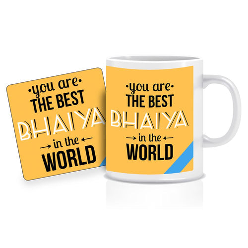 Printnawab Best Bhaiya in the World Quote Yellow Coffee Mug Coaster Combo Gift Pack