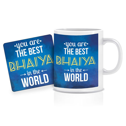 Printnawab Best Bhaiya in the World Quote Blue Coffee Mug Coaster Combo Gift Pack