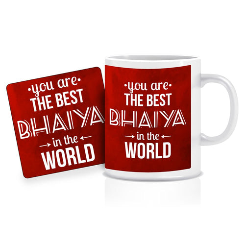 Printnawab Best Bhaiya in the World Quote Red Coffee Mug Coaster Combo Gift Pack