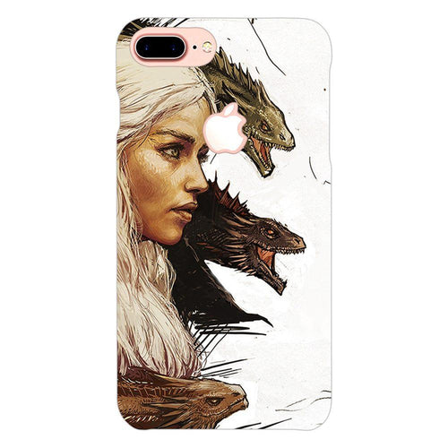Game of Thrones Daenerys with Dragons Design Cover - iphone 8 plus logo cut - PrintNawab