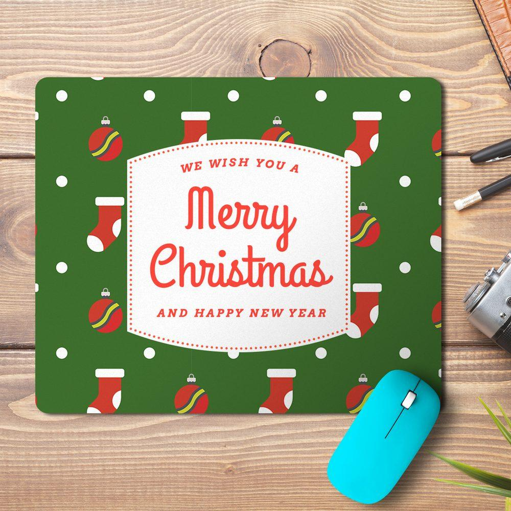 Merry Christmas New Year Abstract 3 Design Mousepad