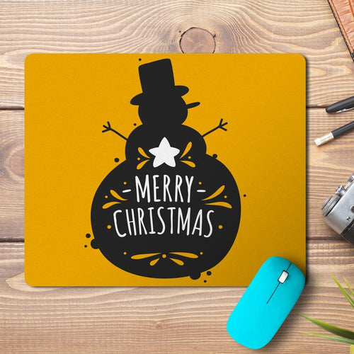 Merry Christmas Snowman Outline Design Mousepad