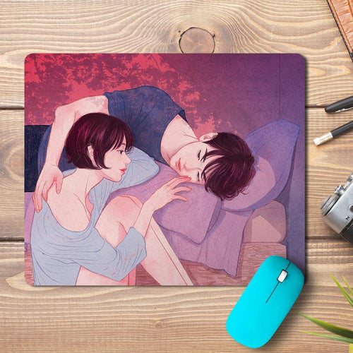 Love Couple Bed Design Mousepad