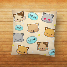 Load image into Gallery viewer, Cat Meow Face Beige Printed Cushion - PrintNawab