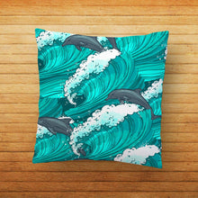 Load image into Gallery viewer, Dolphin Waves Printed Cushion - PrintNawab
