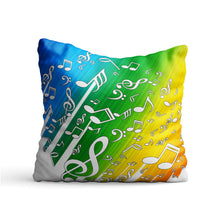Load image into Gallery viewer, Colored Music Clefs Printed Cushion - PrintNawab