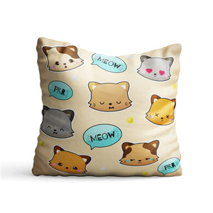 Cat Meow Face Beige Printed Cushion - PrintNawab