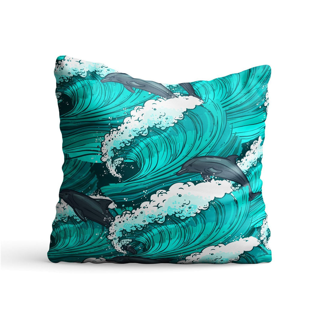Dolphin Waves Printed Cushion - PrintNawab