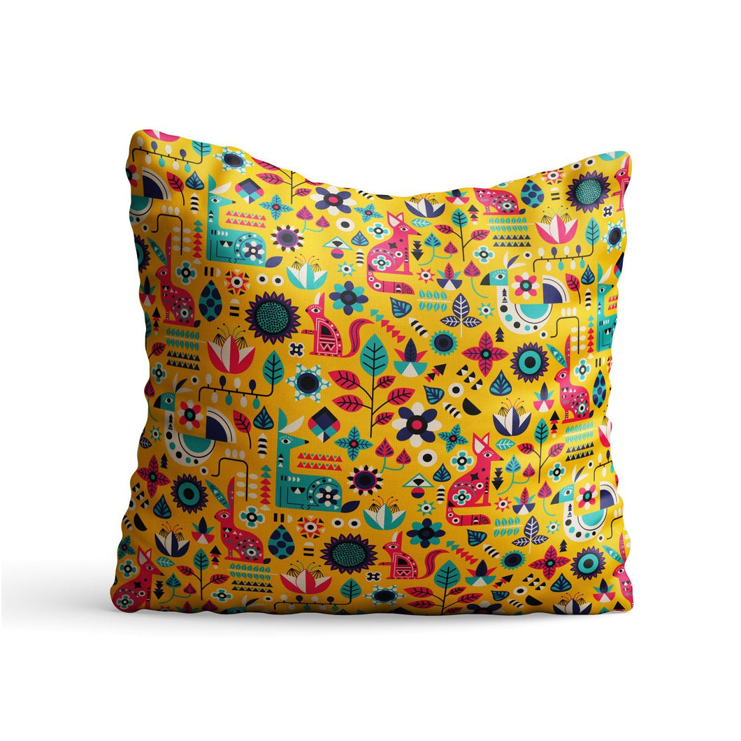 Indian Nature Culture Printed Cushion - PrintNawab