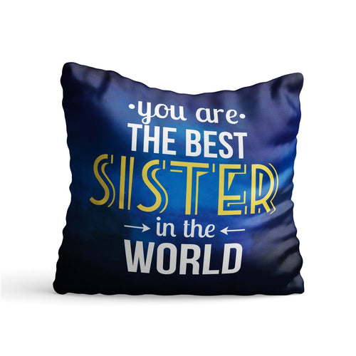 Best Sister in World Quote Printed Cushion - PrintNawab