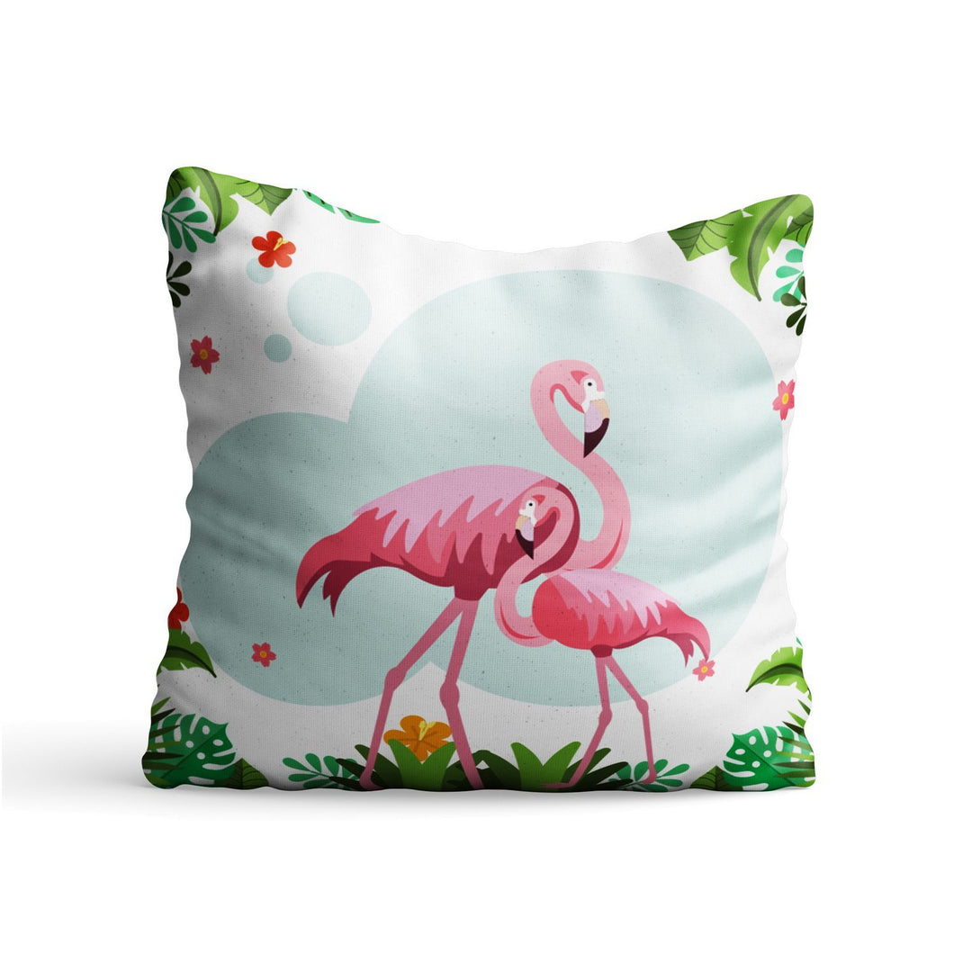 Flamingo Couple Printed Cushion - PrintNawab