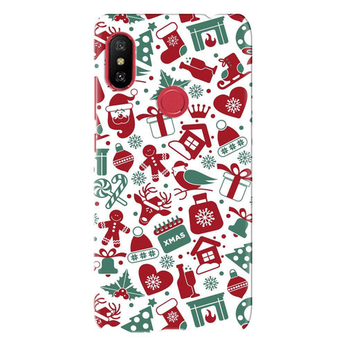 Christmas Elements Pattern Cover - redmi note 6 - PrintNawab